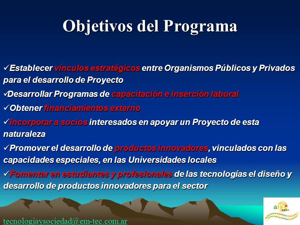 Objetivos del Programa Establecer vínculos estratégicos entre Organismos Públicos y Privados para el desarrollo de Proyecto Establecer vínculos estrat