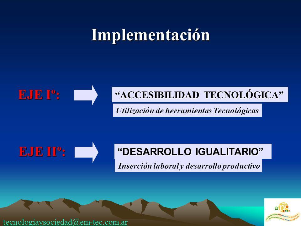 Implementación EJE Iº: EJE IIº: ACCESIBILIDAD TECNOLÓGICA Utilización de herramientas Tecnológicas DESARROLLO IGUALITARIO Inserción laboral y desarrollo productivo tecnologiaysociedad@em-tec.com.ar