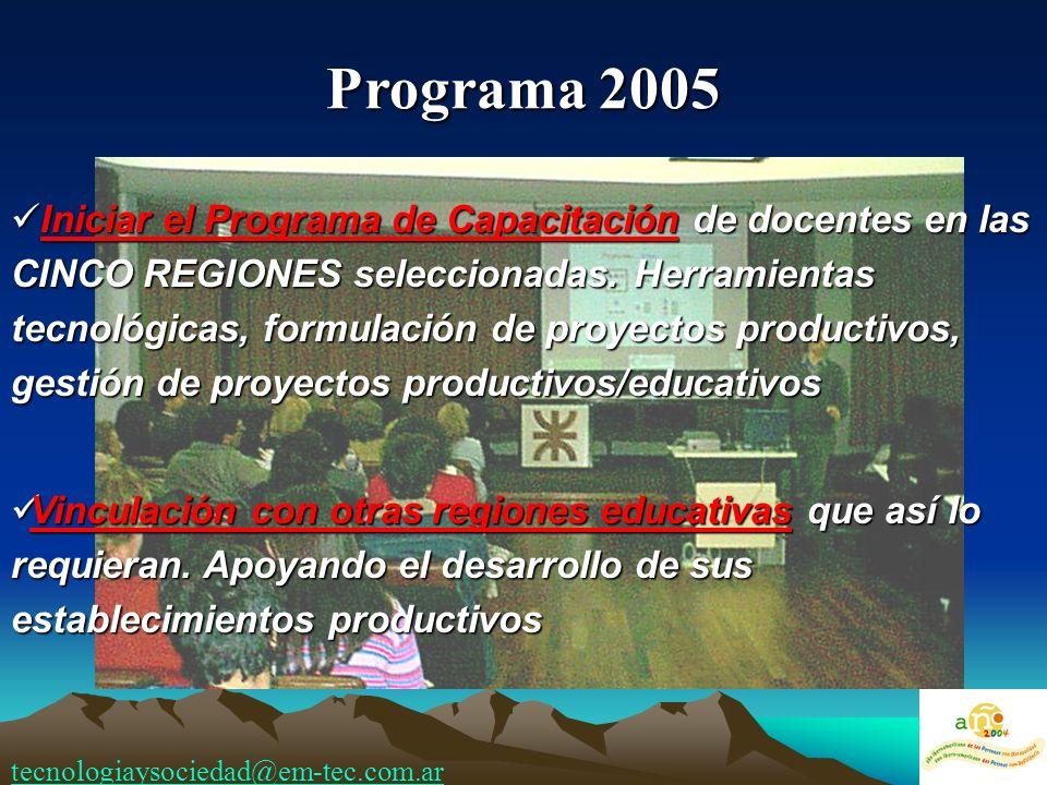 Iniciar el Programa de Capacitación de docentes en las CINCO REGIONES seleccionadas. Herramientas tecnológicas, formulación de proyectos productivos,