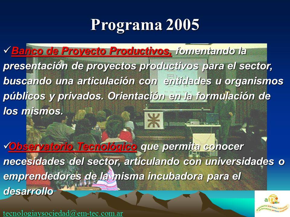 Banco de Proyecto Productivos, fomentando la presentación de proyectos productivos para el sector, buscando una articulación con entidades u organismos públicos y privados.