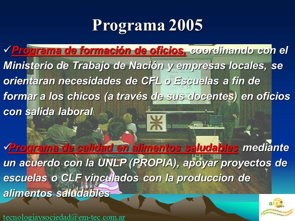 Programa de formación de oficios, coordinando con el Ministerio de Trabajo de Nación y empresas locales, se orientaran necesidades de CFL o Escuelas a