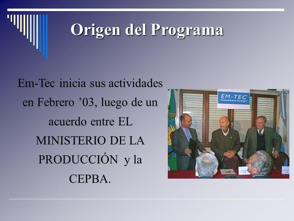 Origen del Programa Em-Tec inicia sus actividades en Febrero 03, luego de un acuerdo entre EL MINISTERIO DE LA PRODUCCIÓN y la CEPBA.