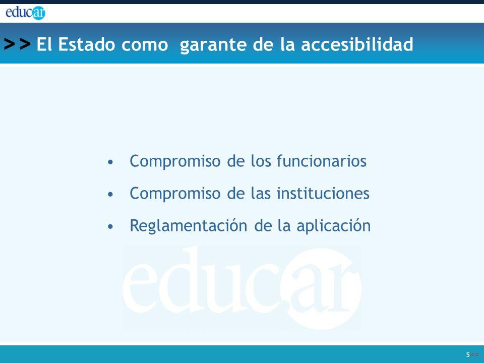 << >> 5 El Estado como garante de la accesibilidad Compromiso de los funcionarios Compromiso de las instituciones Reglamentación de la aplicación
