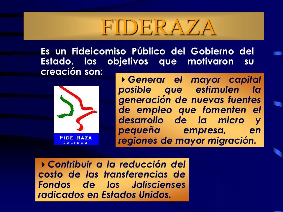 FIDERAZA Es un Fideicomiso Público del Gobierno del Estado, los objetivos que motivaron su creación son: Contribuir a la reducción del costo de las transferencias de Fondos de los Jaliscienses radicados en Estados Unidos.