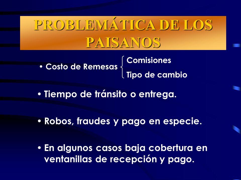 PROBLEMÁTICA DE LOS PAISANOS Tiempo de tránsito o entrega.