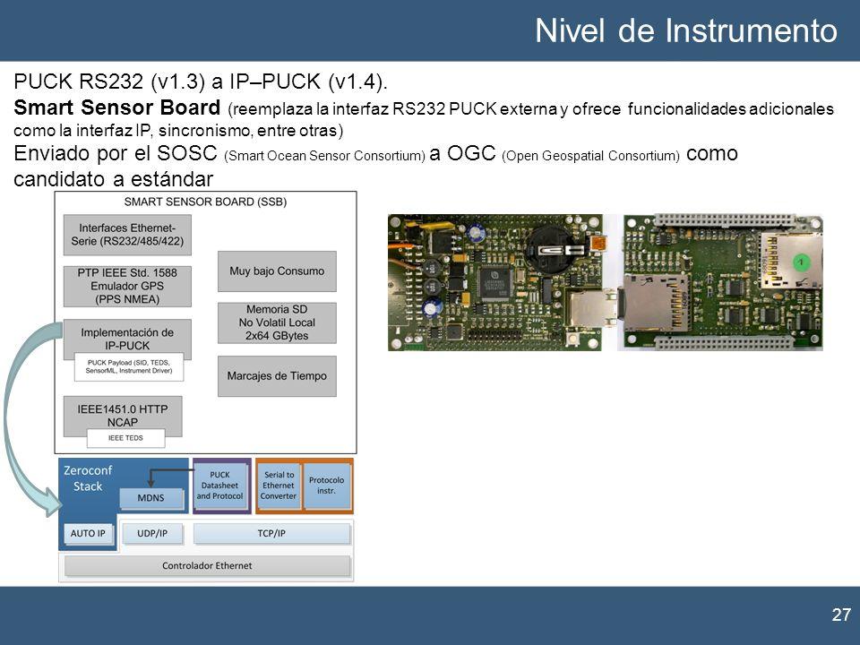Nivel de Instrumento 27 PUCK RS232 (v1.3) a IP–PUCK (v1.4). Smart Sensor Board (reemplaza la interfaz RS232 PUCK externa y ofrece funcionalidades adic