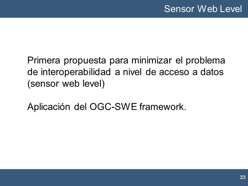 33 Sensor Web Level Primera propuesta para minimizar el problema de interoperabilidad a nivel de acceso a datos (sensor web level) Aplicación del OGC-