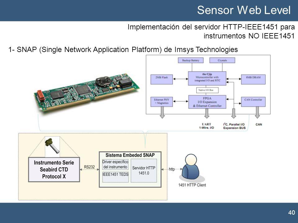 Implementación del servidor HTTP-IEEE1451 para instrumentos NO IEEE1451 40 Sensor Web Level 1- SNAP (Single Network Application Platform) de Imsys Tec