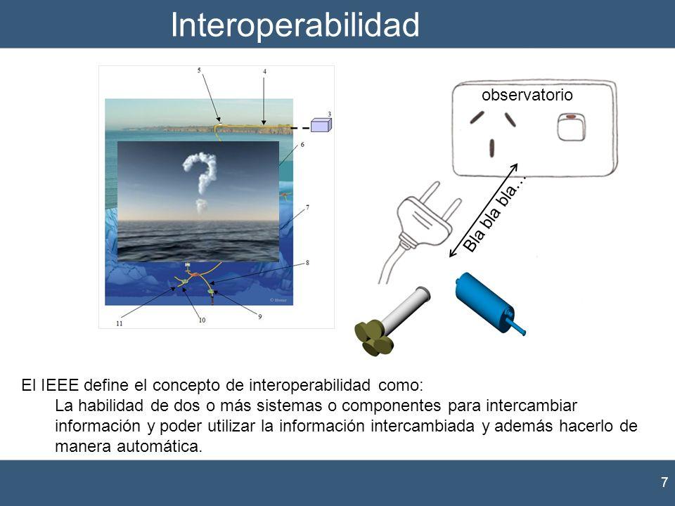 Interoperabilidad 7 El IEEE define el concepto de interoperabilidad como: La habilidad de dos o más sistemas o componentes para intercambiar informaci