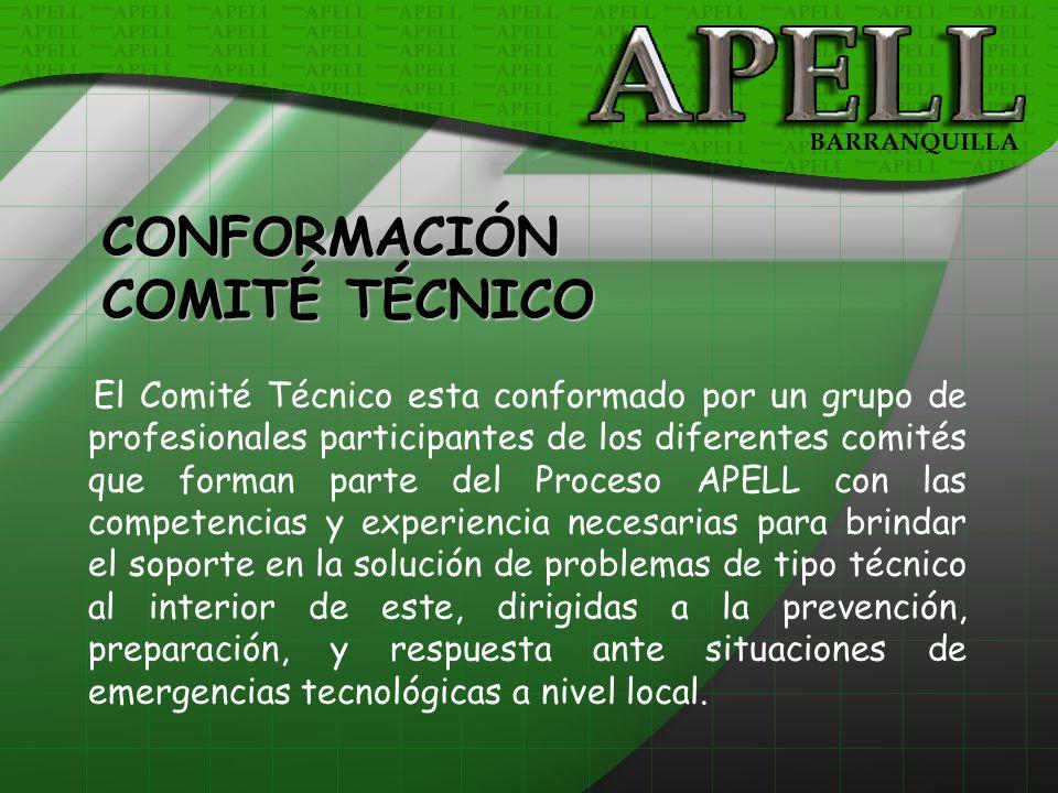 El Comité Técnico esta conformado por un grupo de profesionales participantes de los diferentes comités que forman parte del Proceso APELL con las com