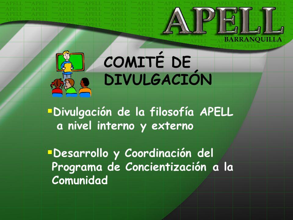 Divulgación de la filosofía APELL a nivel interno y externo Desarrollo y Coordinación del Programa de Concientización a la Comunidad