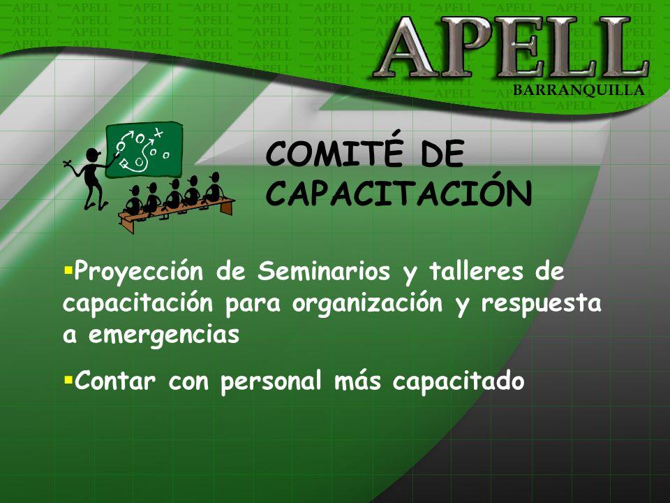 COMITÉ DE CAPACITACIÓN Proyección de Seminarios y talleres de capacitación para organización y respuesta a emergencias Contar con personal más capacit