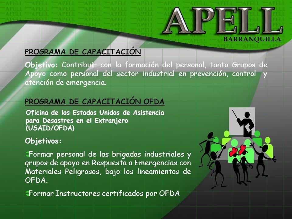 PROGRAMA DE CAPACITACIÓN Objetivo: Contribuir con la formación del personal, tanto Grupos de Apoyo como personal del sector industrial en prevención,