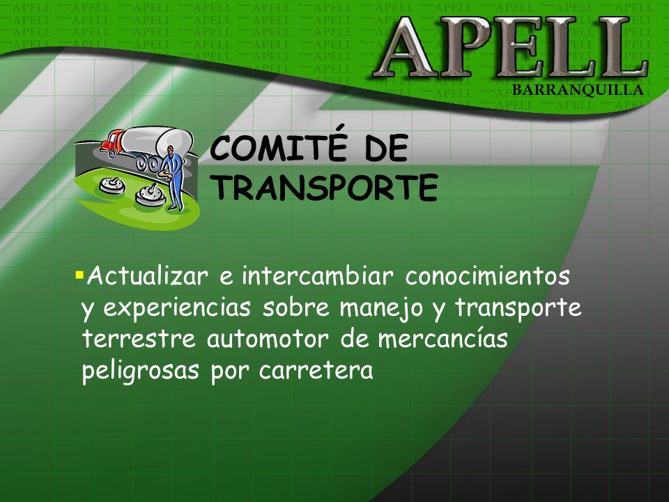 Actualizar e intercambiar conocimientos y experiencias sobre manejo y transporte terrestre automotor de mercancías peligrosas por carretera COMITÉ DE