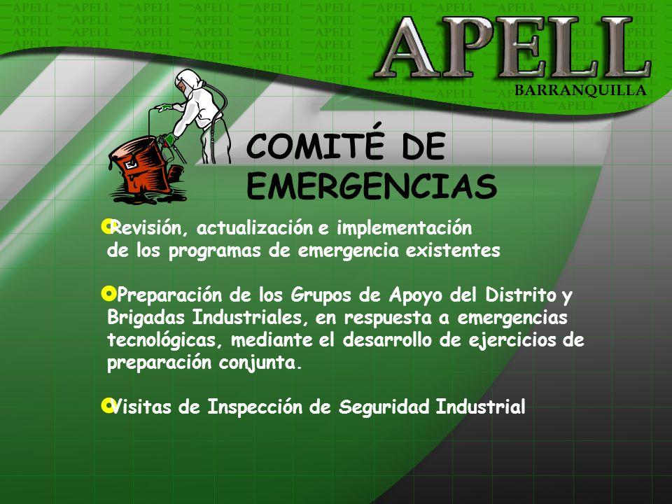 COMITÉ DE EMERGENCIAS Revisión, actualización e implementación de los programas de emergencia existentes Preparación de los Grupos de Apoyo del Distri