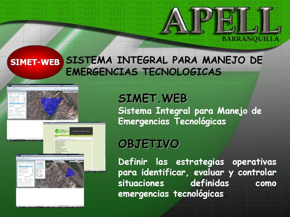 SIMET-WEB SIMET.WEB Sistema Integral para Manejo de Emergencias TecnológicasOBJETIVO Definir las estrategias operativas para identificar, evaluar y co