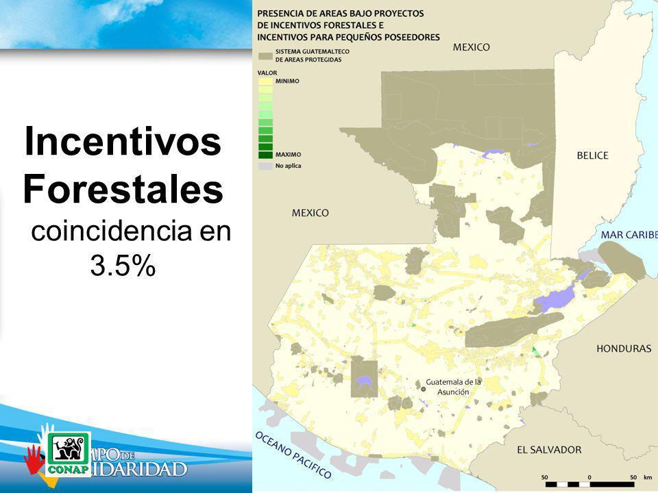 Incentivos Forestales coincidencia en 3.5%