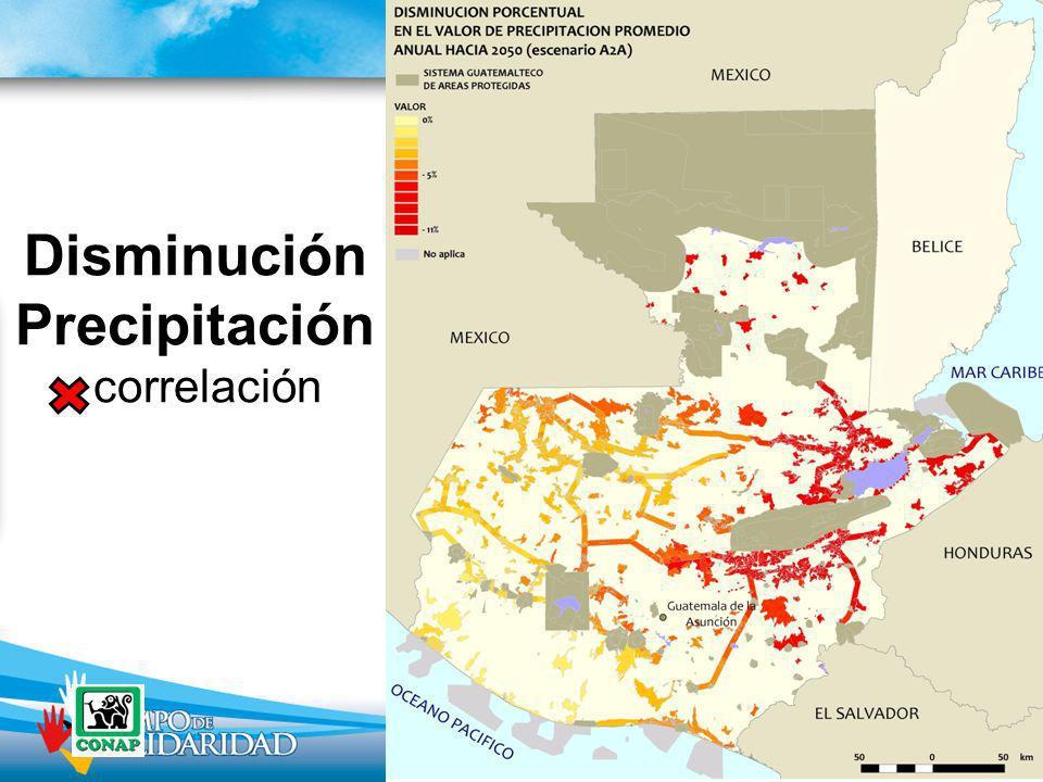 Disminución Precipitación correlación
