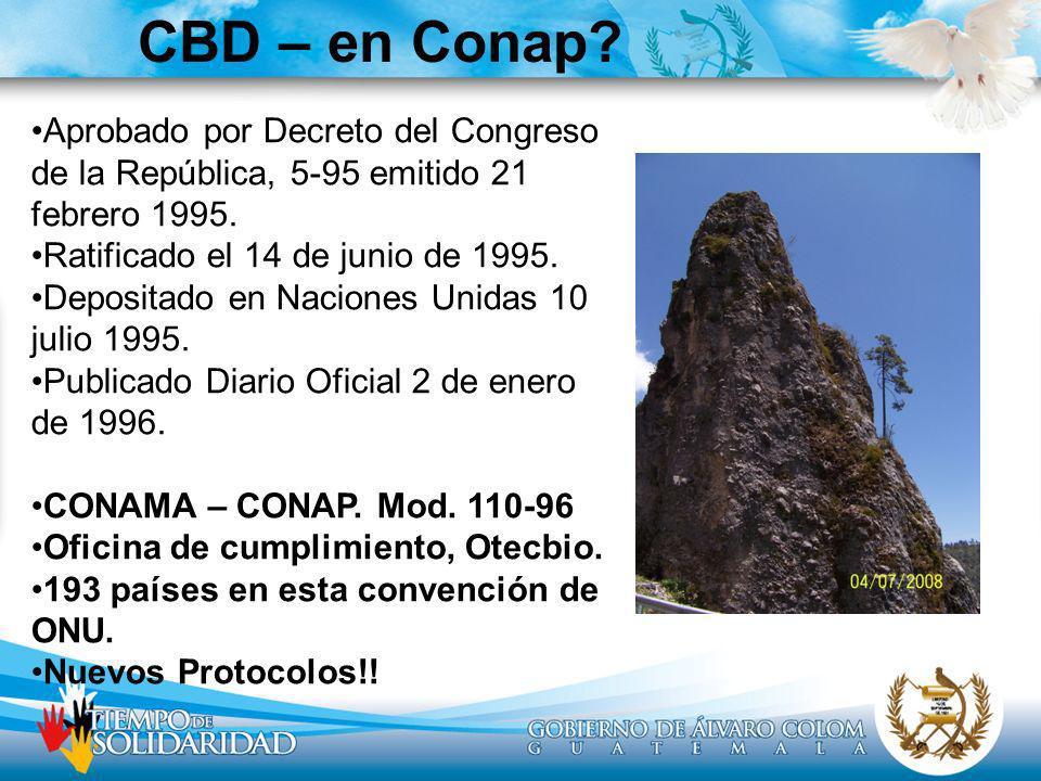 CBD – en Conap? Aprobado por Decreto del Congreso de la República, 5-95 emitido 21 febrero 1995. Ratificado el 14 de junio de 1995. Depositado en Naci