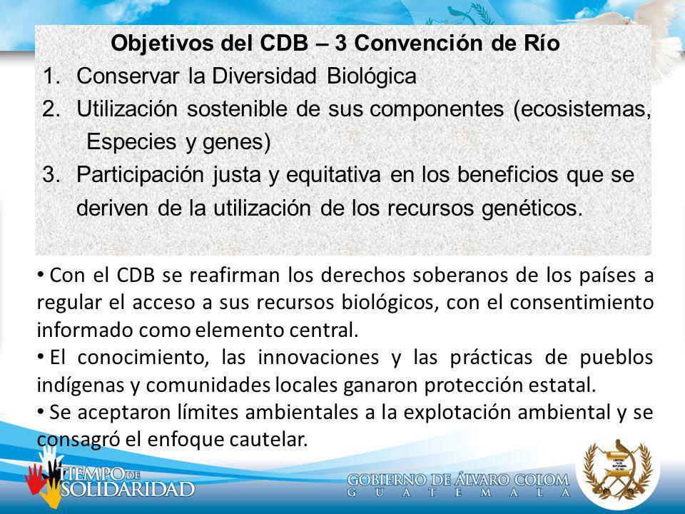 Objetivos del CDB – 3 Convención de Río 1.Conservar la Diversidad Biológica 2.Utilización sostenible de sus componentes (ecosistemas, Especies y genes