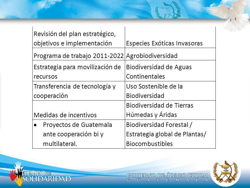 Revisión del plan estratégico, objetivos e implementaciónEspecies Exóticas Invasoras Programa de trabajo 2011-2022Agrobiodiversidad Estrategia para mo