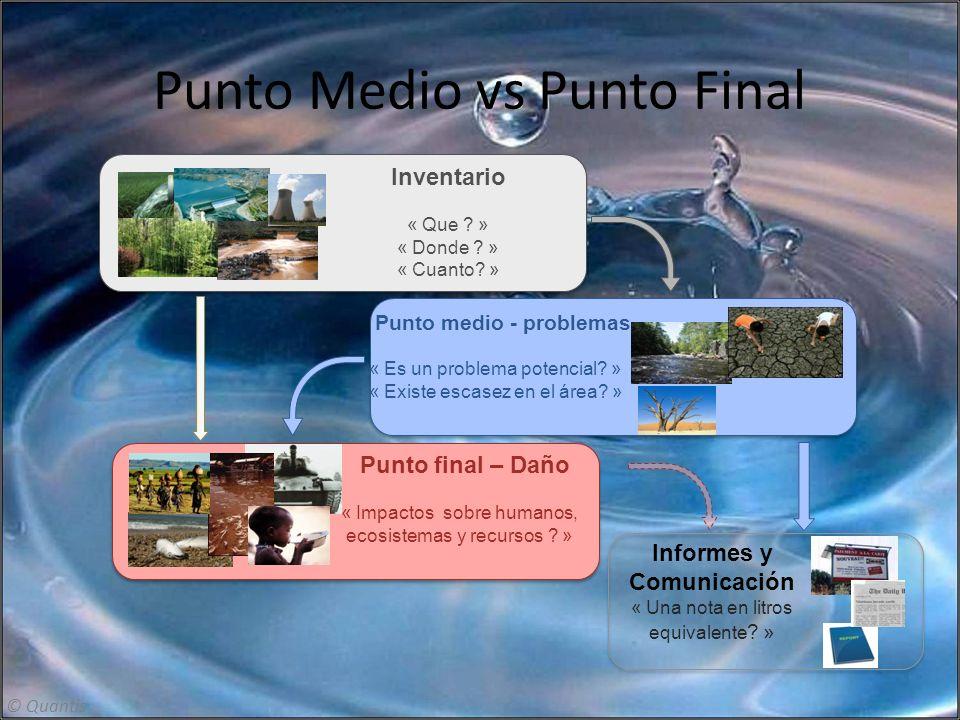 Punto Medio vs Punto Final Punto final – Daño « Impactos sobre humanos, ecosistemas y recursos ? » Punto medio - problemas « Es un problema potencial?