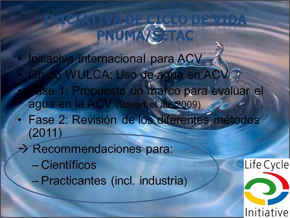 Initiaciva internacional para ACV Grupo WULCA: Uso de agua en ACV Fase 1: Propuesto un marco para evaluar el agua en la ACV (Bayart et al., 2009) Fase