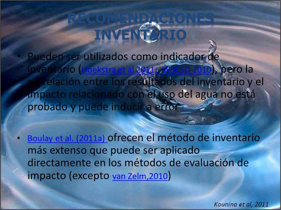 Pueden ser utilizados como indicador de inventario ( Hoekstra et al 2011;. WBCSD 2010 ), pero la correlación entre los resultados del inventario y el