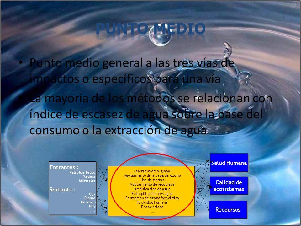 Punto medio general a las tres vías de impactos o específicos para una vía La mayoría de los métodos se relacionan con índice de escasez de agua sobre