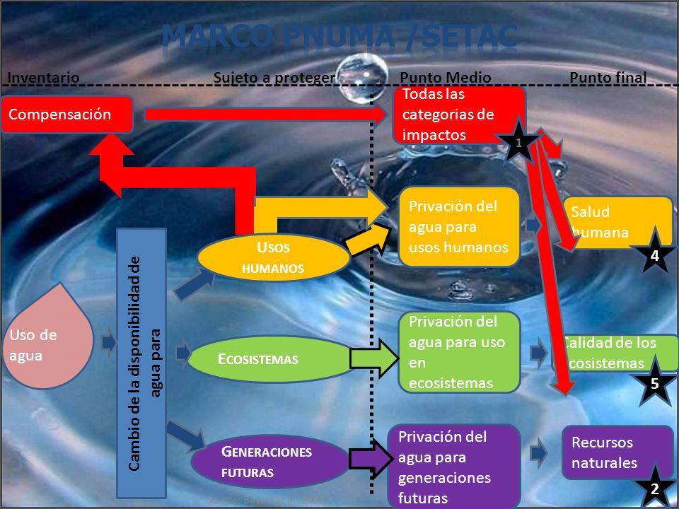 Source: Bayart et al (2009) G ENERACIONES FUTURAS Privación del agua para generaciones futuras E COSISTEMAS Uso de agua Privación del agua para uso en