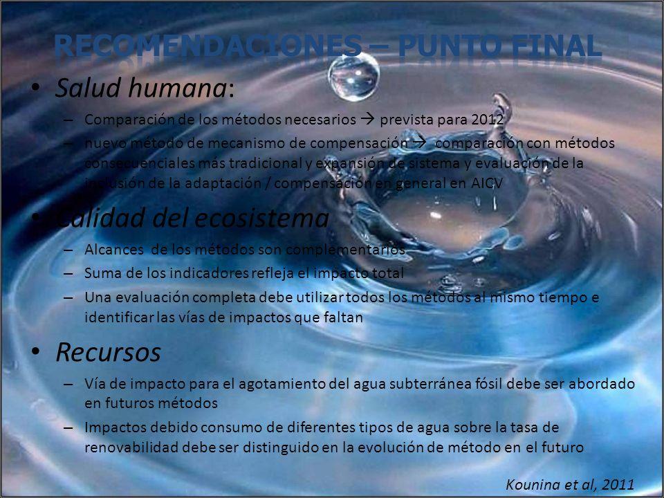 Salud humana: – Comparación de los métodos necesarios prevista para 2012 – nuevo método de mecanismo de compensación comparación con métodos consecuen