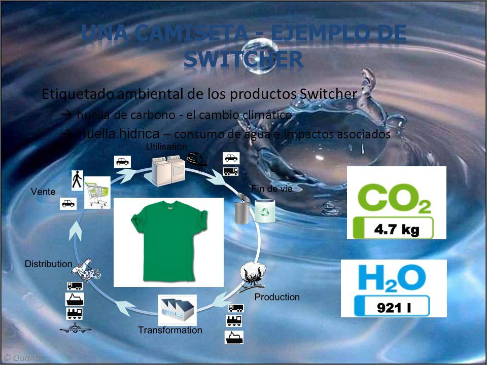 Etiquetado ambiental de los productos Switcher huella de carbono - el cambio climático Huella hidrica – consumo de agua e impactos asociados © Quantis