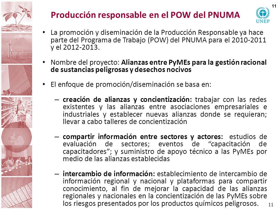 Producción responsable en el POW del PNUMA La promoción y diseminación de la Producción Responsable ya hace parte del Programa de Trabajo (POW) del PN