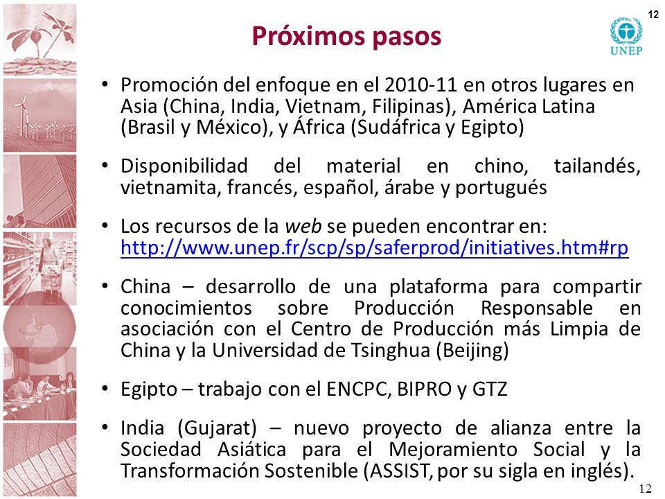 Próximos pasos Promoción del enfoque en el 2010-11 en otros lugares en Asia (China, India, Vietnam, Filipinas), América Latina (Brasil y México), y Áf