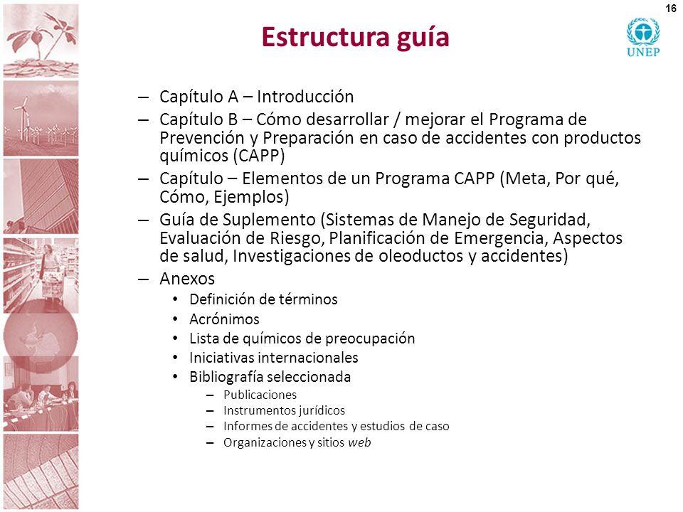 Estructura guía – Capítulo A – Introducción – Capítulo B – Cómo desarrollar / mejorar el Programa de Prevención y Preparación en caso de accidentes co