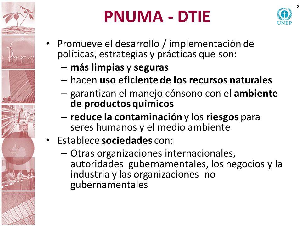 PNUMA - DTIE Promueve el desarrollo / implementación de políticas, estrategias y prácticas que son: – más limpias y seguras – hacen uso eficiente de l