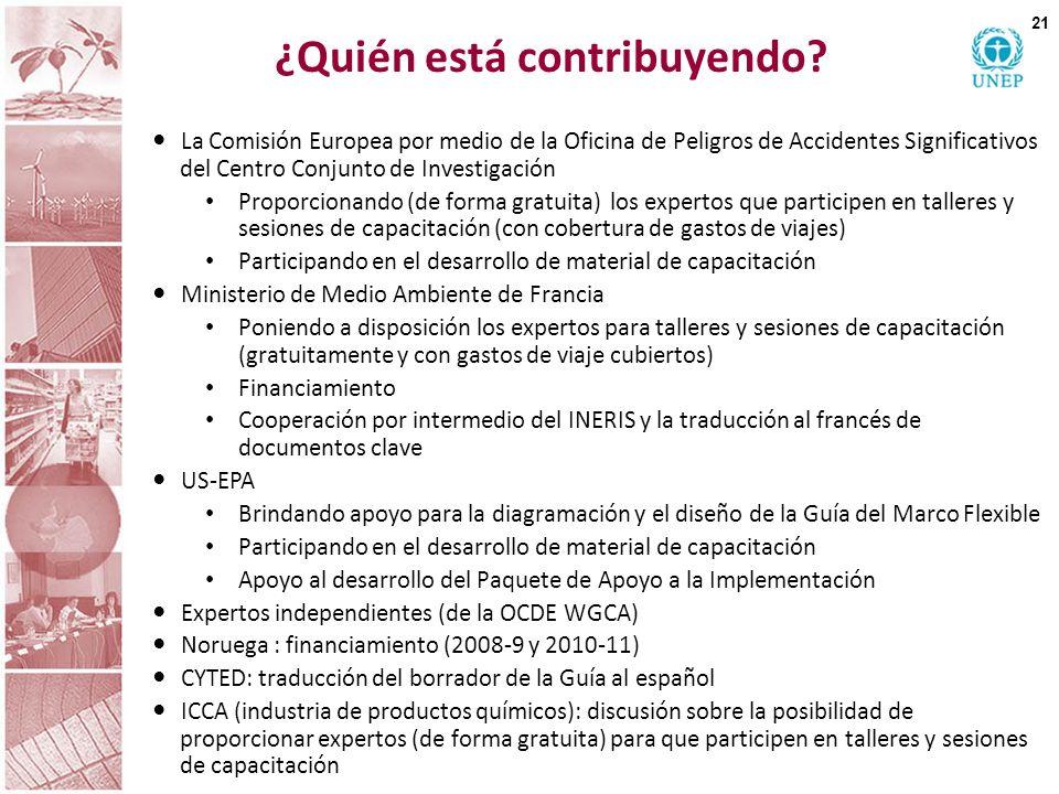 ¿Quién está contribuyendo? La Comisión Europea por medio de la Oficina de Peligros de Accidentes Significativos del Centro Conjunto de Investigación P