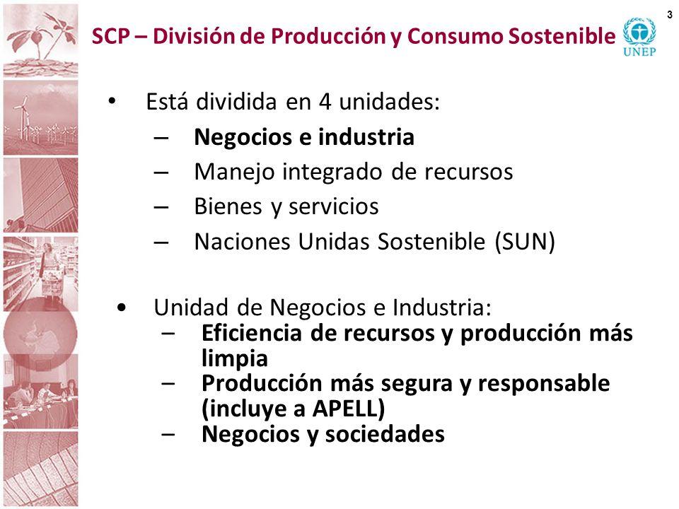 SCP – División de Producción y Consumo Sostenible Está dividida en 4 unidades: – Negocios e industria – Manejo integrado de recursos – Bienes y servic