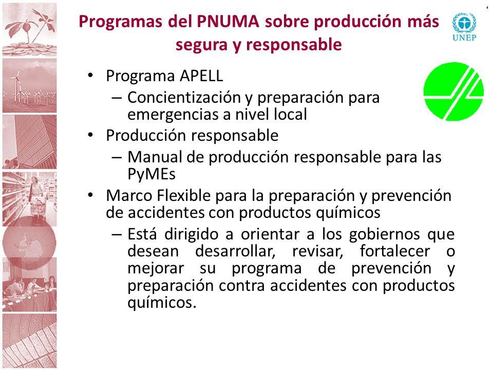 Programas del PNUMA sobre producción más segura y responsable 4 Programa APELL – Concientización y preparación para emergencias a nivel local Producci
