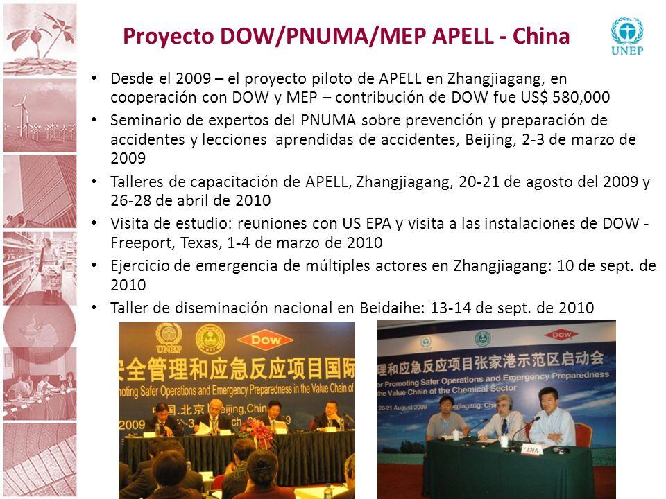 APELL – próximos pasos Promoción de la red de APELL para América Latina Seguir explorando oportunidades de cooperación con USEPA, el Programa de Desarrollo de Ciencia y Tecnología de América Latina (CYTED, por su sigla en inglés), el Consejo Nacional de Seguridad (India), la Agencia Sueca de Contingencias Civiles (MSB), Universidad de Tsinghua (Beijing), Universidad de Concepción (Chile) y la Universidad de Bahía Blanca (Argentina) sobre proyectos y promoción de APELL Seguir haciendo que el sector privado participe: ICCA, ICMM y compañías privadas como la DOW, Petrobras, Antamina, Yanacocha, etc.