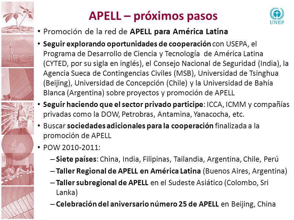 APELL – próximos pasos Promoción de la red de APELL para América Latina Seguir explorando oportunidades de cooperación con USEPA, el Programa de Desar