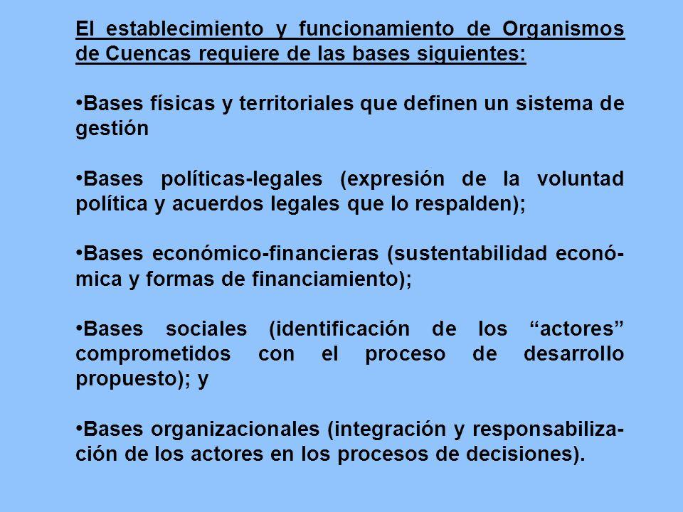 El establecimiento y funcionamiento de Organismos de Cuencas requiere de las bases siguientes: Bases físicas y territoriales que definen un sistema de