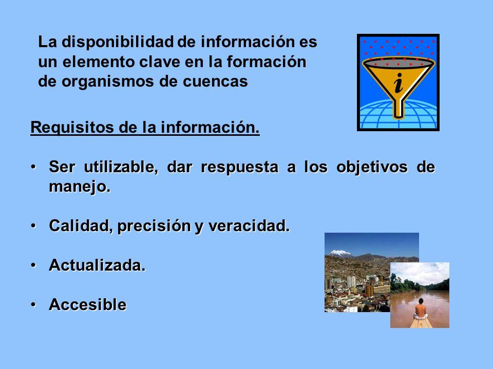 Requisitos de la información. Ser utilizable, dar respuesta a los objetivos de manejo.Ser utilizable, dar respuesta a los objetivos de manejo. Calidad
