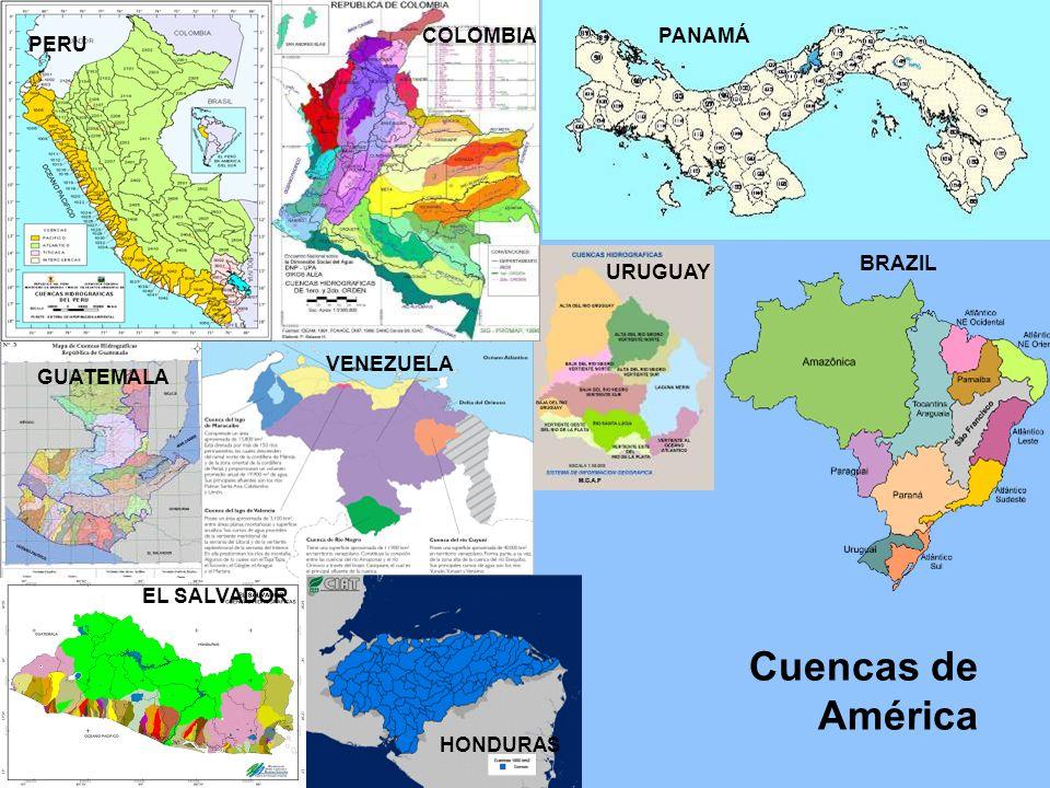 Cuencas de América PERU COLOMBIAPANAMÁ GUATEMALA VENEZUELA URUGUAY BRAZIL EL SALVADOR HONDURAS