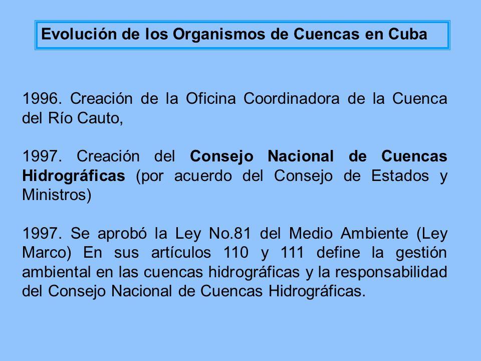 1996. Creación de la Oficina Coordinadora de la Cuenca del Río Cauto, 1997. Creación del Consejo Nacional de Cuencas Hidrográficas (por acuerdo del Co