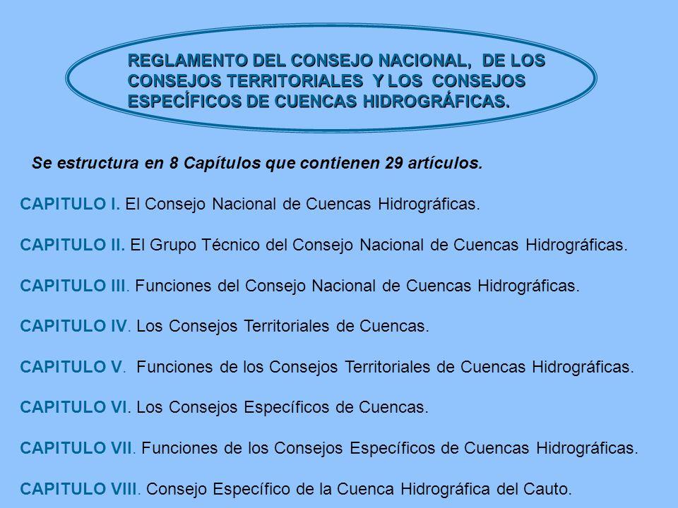 REGLAMENTO DEL CONSEJO NACIONAL, DE LOS CONSEJOS TERRITORIALES Y LOS CONSEJOS ESPECÍFICOS DE CUENCAS HIDROGRÁFICAS. CAPITULO I. El Consejo Nacional de