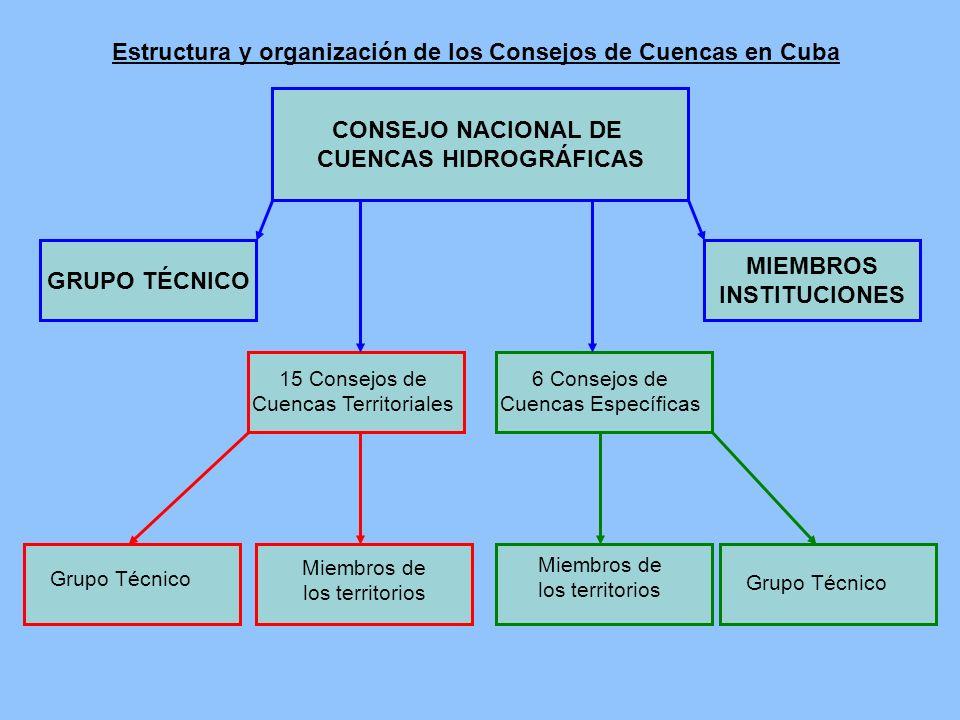 CONSEJO NACIONAL DE CUENCAS HIDROGRÁFICAS GRUPO TÉCNICO MIEMBROS INSTITUCIONES 15 Consejos de Cuencas Territoriales 6 Consejos de Cuencas Específicas