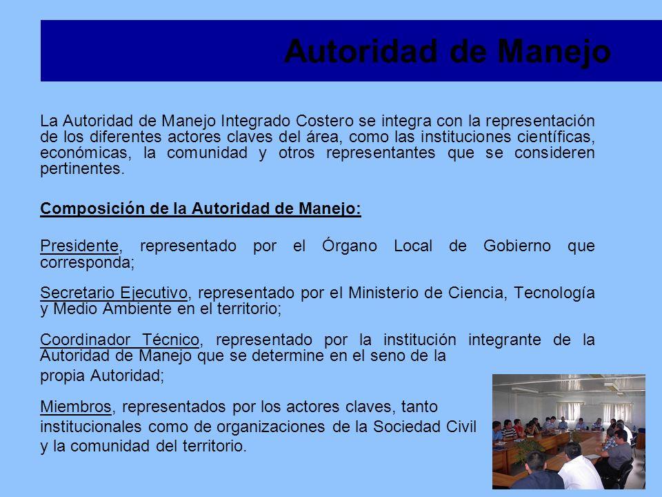 La Autoridad de Manejo Integrado Costero se integra con la representación de los diferentes actores claves del área, como las instituciones científica