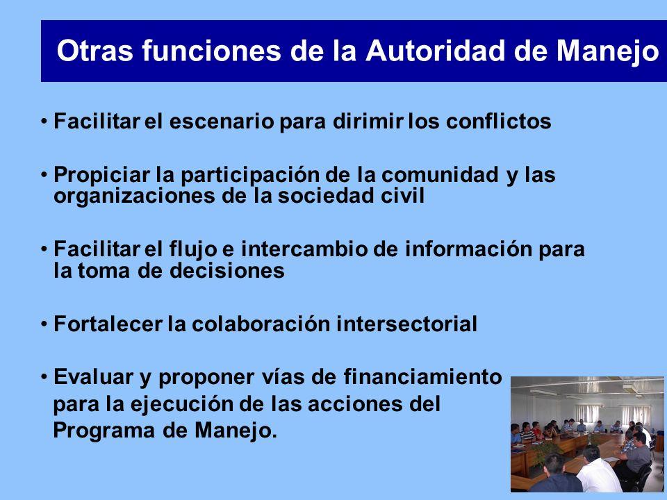 Otras funciones de la Autoridad de Manejo Facilitar el escenario para dirimir los conflictos Propiciar la participación de la comunidad y las organiza