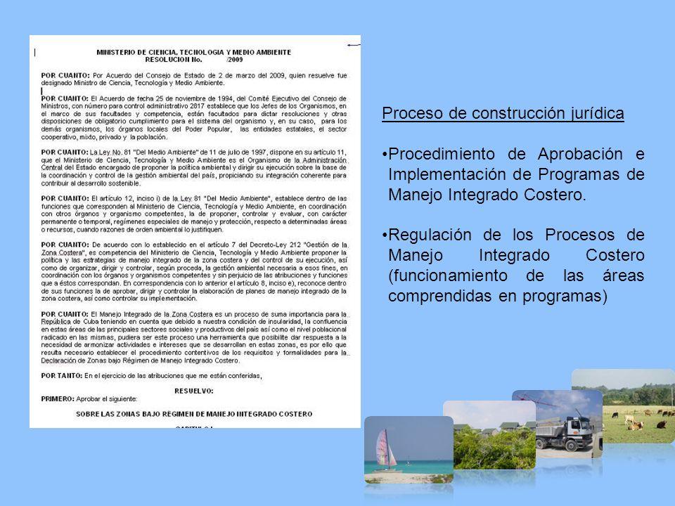 Proceso de construcción jurídica Procedimiento de Aprobación e Implementación de Programas de Manejo Integrado Costero. Regulación de los Procesos de